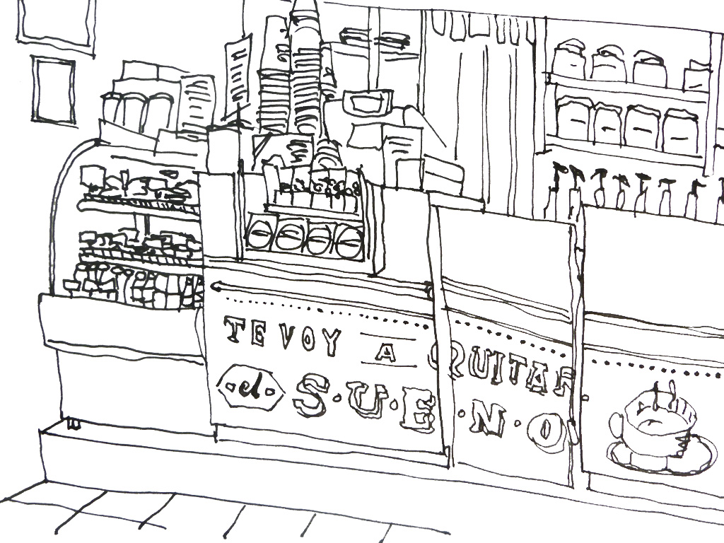 Pen drawing of a cafe at Flip Flop Flying